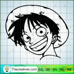Monkey D.Luffy Face SVG, One Piece SVG, Anime Cartoon SVG