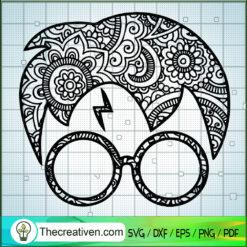 Harry Potter Mandala SVG, Harry Potter Pattern Head SVG, Hogwarts SVG