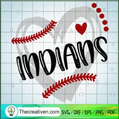 Indians Baseball Heart SVG, Baseball Sport SVG, MLB SVG