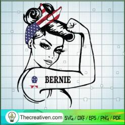 Rosie the Riveter Bernie Sanders SVG, Messy Bun SVG, Girl America SVG