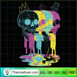 Skull Colorful Ink Flow SVG, Skull SVG, Scary Skull SVG