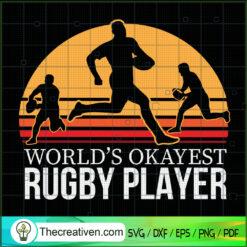 World's Okayest Rugby Player SVG, Retro SVG, Sports SVG