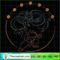 Goku And Dragon Outline SVG, Dragon Ball Z SVG, 7 Dragon Ball SVG