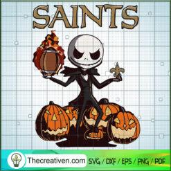 Saints Jack SVG, Jack Skellington Pumpkin SVG, Jack NFL SVG