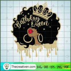 Birthday Queen SVG, Birthday Girl SVG, Black Girl SVG, Afro Women SVG