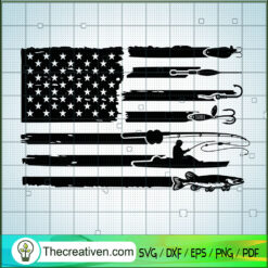 America Fishing SVG, Hocked Fishing SVG, USA Flag SVG