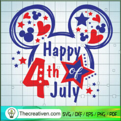 Disney Mickey Happy 4th of July SVG, Mickey Head SVG, Walt Disney SVG