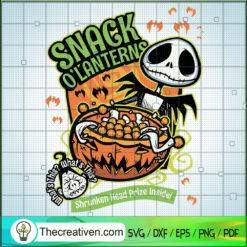 Snack O'lanterns Shrunken Head Prize Inside SVG, Jack Skellington SVG, Halloween Snack SVG