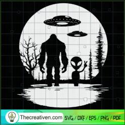 Bigfoot And Alien SVG, UFO SVG, Hiking With Alien SVG