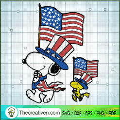 Snoopy 4th of July SVG, USA Flag SVG, Independence Day SVG