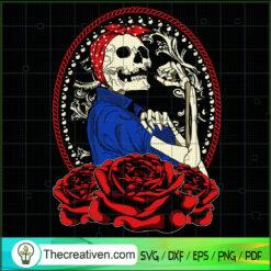 Rose Flower Skull SVG, Skull Momlife SVG, Skull Messy Bun SVG