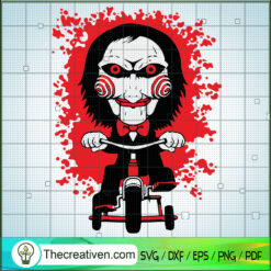 Saw Ride Bicycle SVG, Horror Characters SVG, Halloween SVG