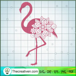 Flower Flamingo SVG, Flamingo SVG, Flower SVG