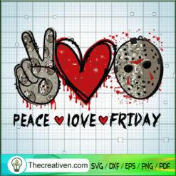 Peace Love Friday SVG, Jason Voorhees SVG, Halloween SVG