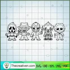 All Chibi Horror Characters SVG, Horror Movie SVG, Killer SVG