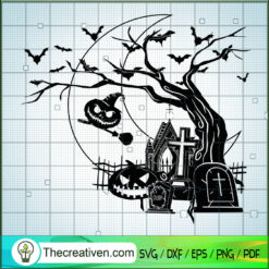 Halloween Night SVG, Halloween Cemetery SVG, Halloween SVG