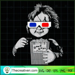 Chucky Take a Popcorn SVG, Chucky In The Cinema SVG, Horror Characters SVG