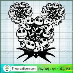 Mickey Head Scary Halloween SVG, Jack Skellington Head SVG, Halloween SVG