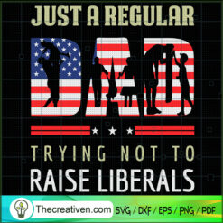 Just a Regular Dad Trying Not To Raise Liberals SVG, USA Flag SVG, Father Day SVG