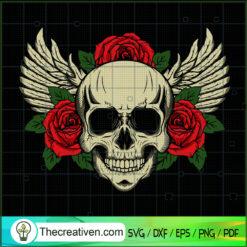 Skull Wings SVG, Skull Rose Flower SVG, Skull SVG