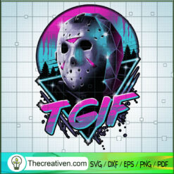 Jason Voorhees Mask Neon SVG, Horror Movie SVG, Friday The 13th SVG