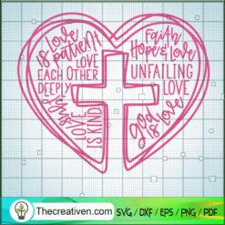 Jesus is Love Word Heart Cross Valentines Day SVG, Jesus SVG, God Cross SVG