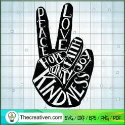 Hi Peace Love Hope SVG, Kindness SVG, Unity SVG, Joy SVG