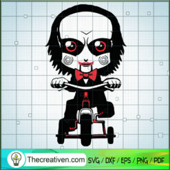 Jig Saw Red Blood SVG, Horror Movie SVG, Ride Bicycle SVG, Halloween SVG