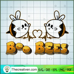 Boo Bees SVG, Boo Bees Heart SVG, Halloween SVG