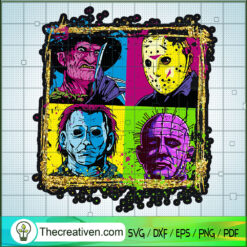 Colorful Horror Characters SVG, Horror Movie SVG, Halloween SVG