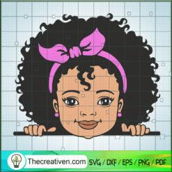 Peekaboo Girl Puff Afro With Bandana SVG, Peek a Boo SVG, Cute Black African American Kids SVG