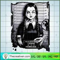 Wednesday Addams Halloween Mugshot SVG, Homicide SVG, Horror Halloween SVG