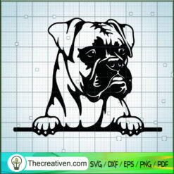 Peeking Boxer SVG, Boxer Dog SVG, Pet Lover SVG