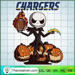 Los Angeles Chargers SVG, Chargers Jack Skelington SVG, NFL SVG