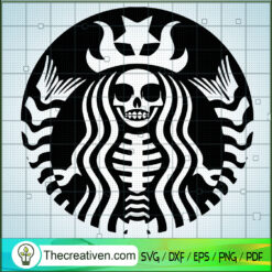Skeleton Starbucks Logo SVG, Scary Starbucks Logo SVG, Starbucks Halloween SVG