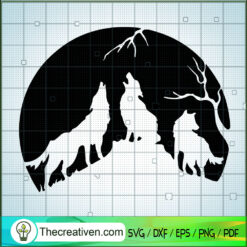Howling Wolf SVG, Wolf SVG, Mountain SVG