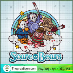 Scare Bears SVG, Cute Horror Bears Characters SVG, Halloween SVG