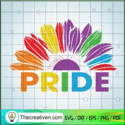 Pride Sunflower SVG, LGBTQ Pride Sunflower SVG, Sunflower Rainbow SVG