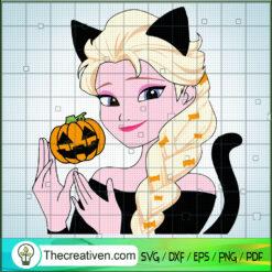 Elsa Pumpkin SVG, Frozen Princess SVG, Pumpkin Halloween SVG, Elsa Halloween SVG