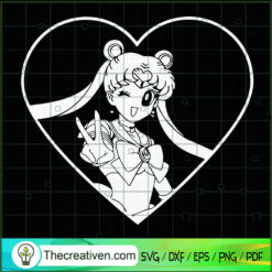 Sailor Moon In Heart SVG, Sailor Moon SVG, Anime Japan SVG