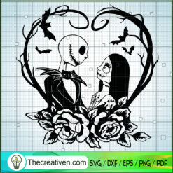Jack And Sally In Heart SVG, Couple Jack And Sally SVG, The Nightmare Before SVG, Halloween SVG