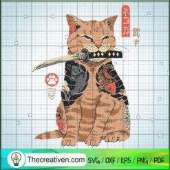 Cat With Knife SVG, Japan Cat SVG, Cat SVG