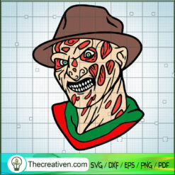 Horror Face Freddy Krueger SVG, Horror Characters SVG, Halloween SVG