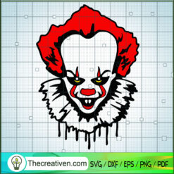 Pennywise Horror Face SVG, Horror Characters SVG, Halloween SVG