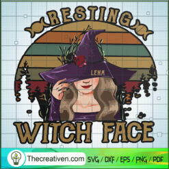 Resting Witch Face SVG, Witch Retro SVG, Halloween SVG
