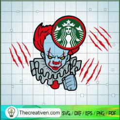 Clown Starbucks SVG, Pennywise SVG, Halloween SVG