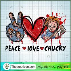 Peace Love Chucky SVG, Chucky Horror SVG, Halloween SVG