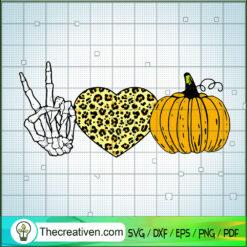 Peace Love Pumpkin SVG, Hear Leopard SVG, Halloween SVG